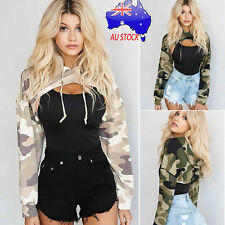 Women Fashion Long Sleeve Hollow Out Tops Camouflage Print T-shirt Hooded Blouse