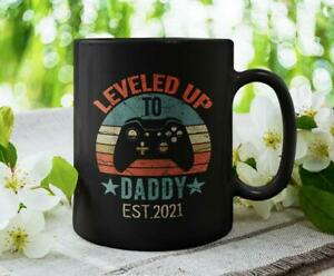 Leveled Up To Daddy Est. 2021, New Dad / Father Cute / Funny Black Coffee Mug...