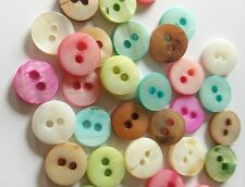 25 shell pastel coloured tiny 10mm round buttons, 2 holes