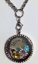 LOVE LIFE S/STEEL FLOATING SILVER LOCKET RHINESTONE NECKLACE & CHARMS AU SELLER