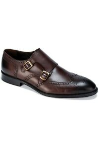 Jack Martin - Handmade - Brown Burnished Genuine Leather Double Monk Strap Shoes