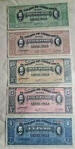 Set of 5 Mexican Pesos bank notes 1915 UNC Mint 1 of each : 1,5,10,20,50 Pesos,