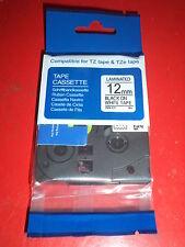 "COMPATIBLE TZe-231 12mm 1/2"" LABEL-TAPE BLACK PRINT WHITE 26.2 ft PT-200 BROTHER"