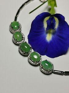 Icy Ice Green Burmese Jadeite Jade Bracelet-Grade A Myanmar Jadeite Jade