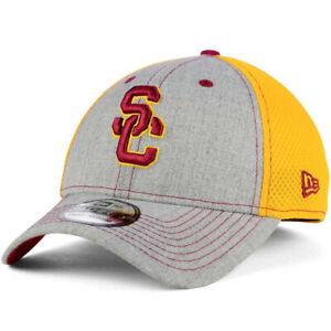 USC Trojans New Era Neo 39THIRTY Flex Stretch Fit Hat Cap Heathered Gray/Gold