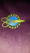 Steampunk Gótico Bronce broche insignia con tijeras peluquería Sastre servida Ecusson