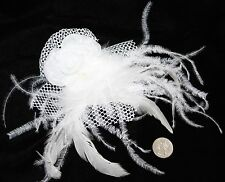White Cabaret Burlesque Emo Cosplay Feather Tribal Belly Dancing Hair CLIP PIN