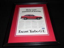 1985 Ford Escort Turbo GT Framed 11x14 ORIGINAL Vintage Advertisement