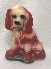 Vintage 1930-40s Carnival Prize Chalkware Cocker Spaniel Dog Flat-Back Red/Cream