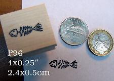 P96 Fish bones rubber stamp miniature