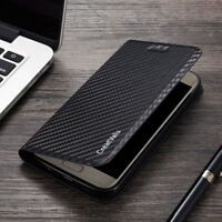 Carbon PU Leather Magnetic Flip Wallet Phone Case Cover For Samsung Galaxy S10 9