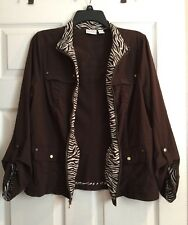 Zenergy By Chicos Womens Brown Roll Up Sleeve Zebra Inner Print Jacket Size 1