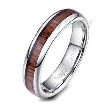 5MM Mens womensTungsten Carbide Ring Koa Tan Wood Inlay Dome Wedding Band Bridal