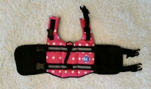 Dog Life Vest Ex Small Pink with White Polka Dots by Paws Aboard