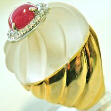 HUGE ANTIQUE RETRO 18K DIMONDS & RUBY ROCK CRYSTAL RING