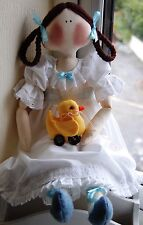 PRIMITIVE FOLK ART SEWING PATTERN 'POLLYANNA' RAG DOLL & DUCK TOY