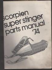 1974 SCORPION SUPER STINGER SNOWMOBILE  PARTS  MANUAL USED