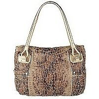 NWOT B.Makowsky Snake Embossed Linen Shoulder Bag