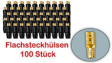 Flachsteckhülsen Flachstecker Lautsprecher 2,8mm vergoldet isoliert 100 Stück