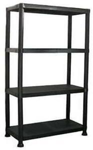 4 Tier Plastic Shelf Home Storage Shelf Unit Black