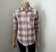 NWT Hollister Womens Plaid Shirt Size XS Pink & Gray