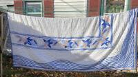 VTG 50-60's? QUEEN Blue Peachy Pink Floral Chenille COTTAGE Duvet Bedspread