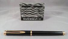 Waterman Paris GENTLEMAN 18K Nib Fountain Pen Black Gold Trim GT Ink Cartridge