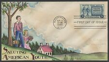 "#963 ""AMERICAN YOUTH"" ON KNAPP FDC HAND PAINTED CACHET HW998 VS"