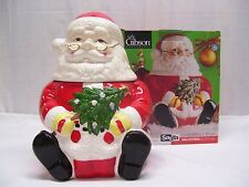 "Classic ! Santa Claus Cookie Jar 12"" Gibson Christmas Holiday Canister Ceramic"