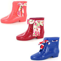 Ladies x1187 ankle wellington boots with ribbon by Spot On Retail price £9.99