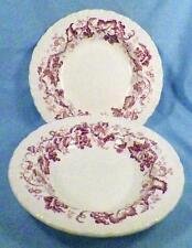 2 Wedgwood Old Vine Soup Bowls Purple Flowers Vines Shell Edge Porcelain Rimmed