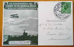 GB 1911 FIRST AERIAL POST LONDON TO WINDSOR POSTED BOX 3 13 SEP LOVELY CONDITION