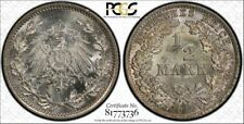 German Empire 1/2 Mark Silver J.16 1916 A Punching Luster PCGS MS65