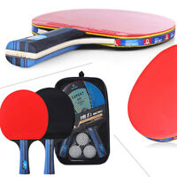 Pair Table Tennis Ping Pong Racket Short/Long Handle Paddle Bat+Balls Bag Set