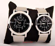 New 6pcs Fashion girls women Black Dial Steel wrist watches quartz gifts LK55