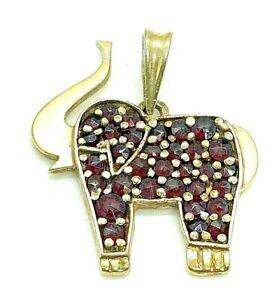 Antiker Anhänger Elefant mit Böhmischem Granat 835er Silber vergoldet