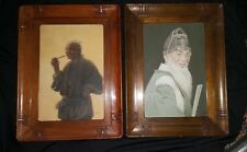 Two  Lge  Early 20thC Japanese Watercolours  Carved Frames  -signed Tani & Ryuko