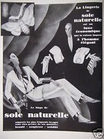 PUBLICITÉ 1929 LA LINGERIE DE SOIE NATURELLE - ADVERTISING