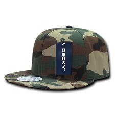 Ripstop Flat Bill Snapback Cap - Woodland Camo, Cotton Hat (Decky 360-WDL, New)