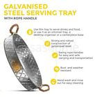 Galvanised Silver Effect Serving Tray Platter Mirror Polished Table Metal Dinner