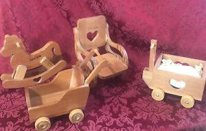 Robert Raikes 2 Wagons, rocking chair, rocking horse, Doll Furniture