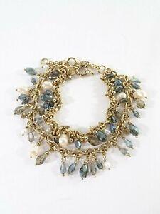 Banana Republic Women's Metallic Blue Pearlized Layer Bracelet NWT 48.00
