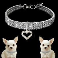 CO_ Rhinestone Dog Necklace Collar Diamante & Pendant for Pet Puppy Chihuahua Co