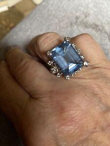 Judith Ripka Large Blue Topaz Ring