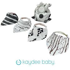 Kaydee Baby Bandana Bibs boy or girl, unisex, adjustable, lined set of 4
