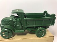 Vintage 1970s Green CAST IRON Toy Dump Truck with Driver Working Flatbed MINT!!
