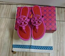 Tory Burch Miller Imperial Pink Red Leather Thong Sandals Size  8 NEW