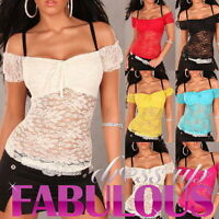 Sexy Women's Sheer Lace Latina Top Shirt Hot Party Evening Size 6 8 10 XS S M