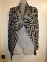 TRINA TURK 2 Cardigan Sweater Jacket Wrap Open Waterfall Black Gray Chevron Chic