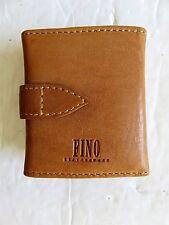"""Fino Leatherware Rare Mini 3 Photos Wallet Brown Leather 3"""" x 2.5"""""""